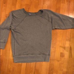 Aerie Raw Cut City Sweatshirt  in Olive Green